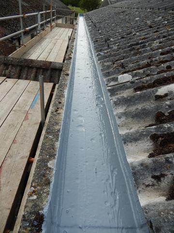 Gutter Liner System For Asbestos Metal And Concrete Gutters